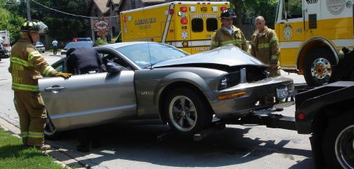 car accident mustang