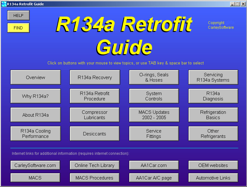 R134a a c refrigerant retrofit guide software