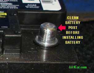 how to clean rusty posts on a battery
