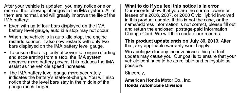 Honda Civic Hybrid Update Information