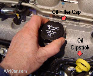 oil filler cap for changing motor oil